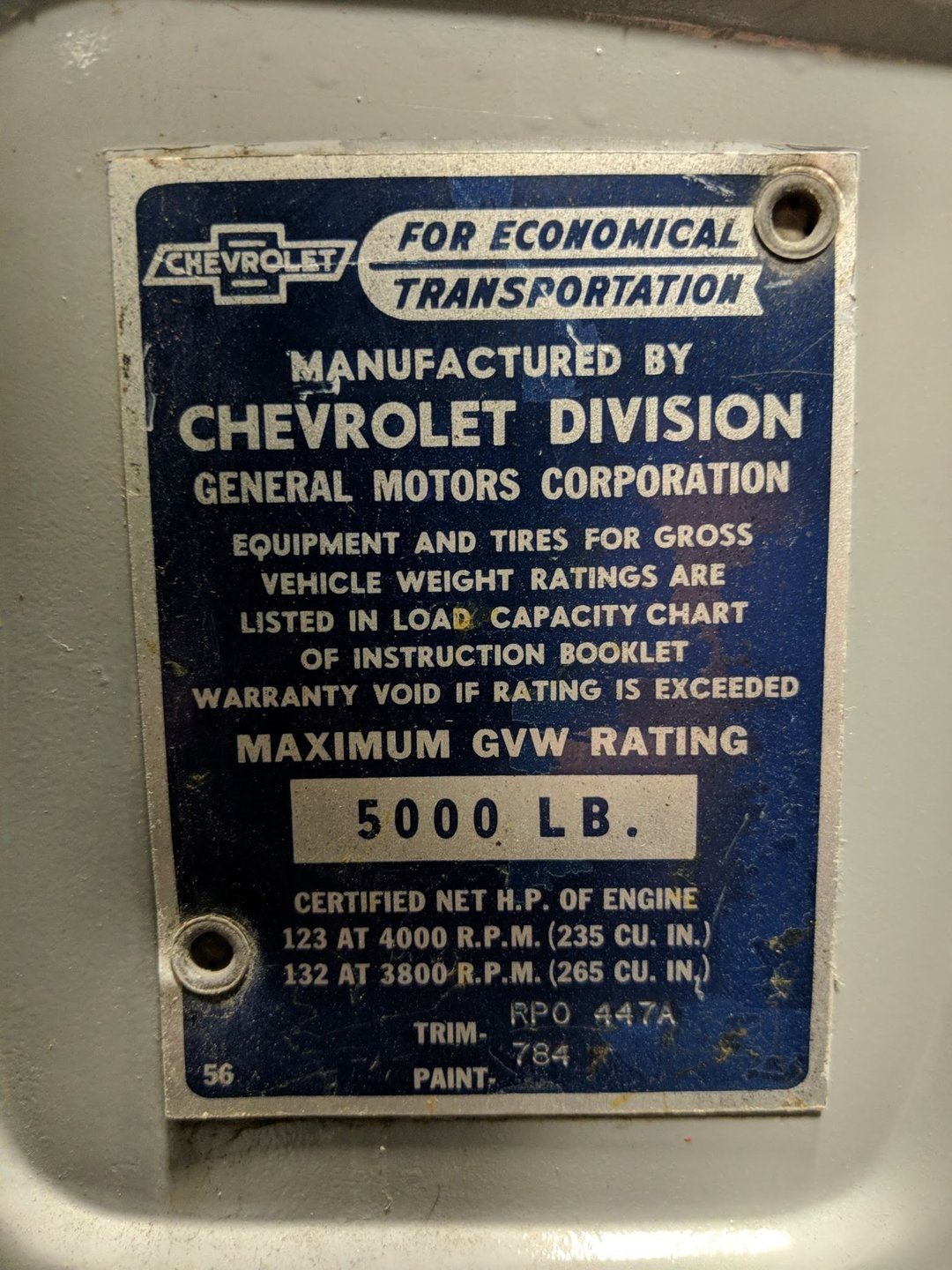 1957 Chevrolet Cameo Streetside Classics The Nations Trusted Chevy Vin Tag Decoder View 360