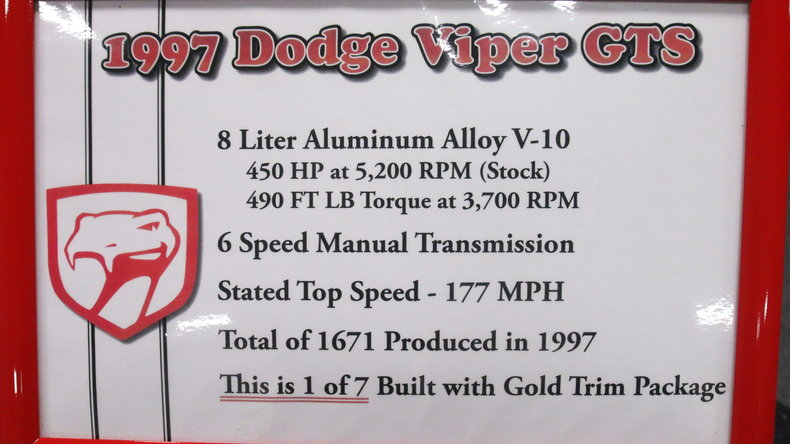 1997 Dodge Viper Gts Gold Package For Sale All Collector Cars
