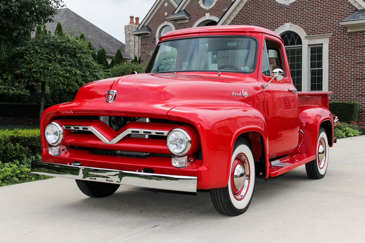 1955 Ford F100 Classic Cars For Sale Michigan Muscle Old Truck Interior 231376 Pickup Red 191723