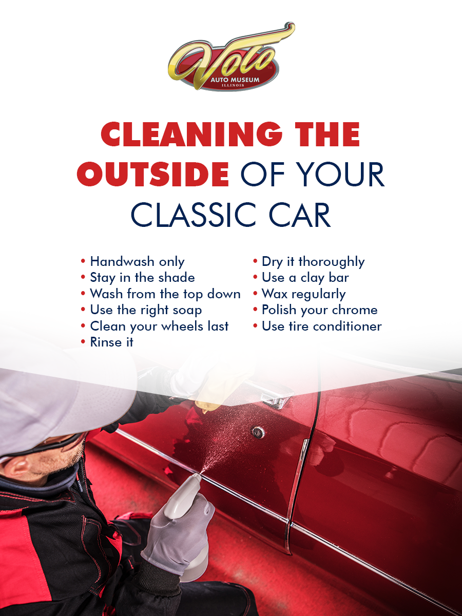 cleaning the exterior of a classic car