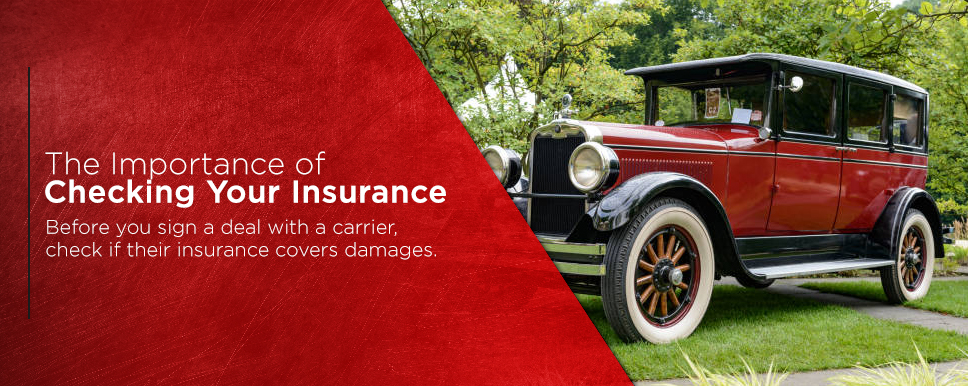 check insurance before transporting classic car