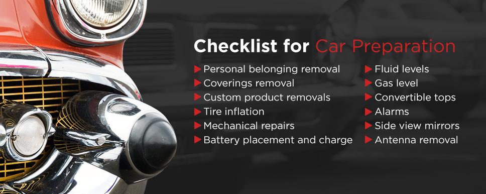 checklist for car preparation